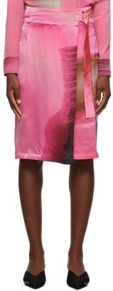 Serapis Pink Silk Buckle Skirt