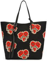 Alexander McQueen Skull poppy print shopper tote - women - Cotton - One Size