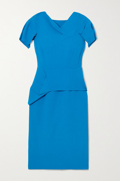 Thumbnail for your product : Roland Mouret Vernon Draped Wool-crepe Dress - Azure