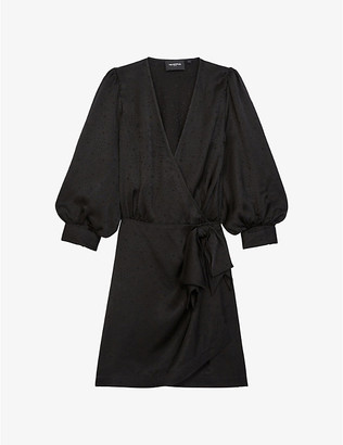 The Kooples Full-sleeve jacquard wrap mini dress