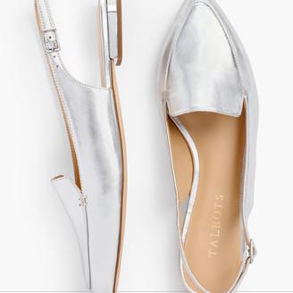 Talbots Poppy Pointed Toe Slingbacks - Metallic Leather