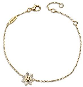 BaubleBar Felice Cubic Zirconia Smiling Daisy Link Bracelet in 18K Gold Plated Sterling Silver