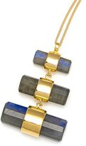 Assya Gold and Labradorite Three Crystal Polished Necklace of Length 24cm