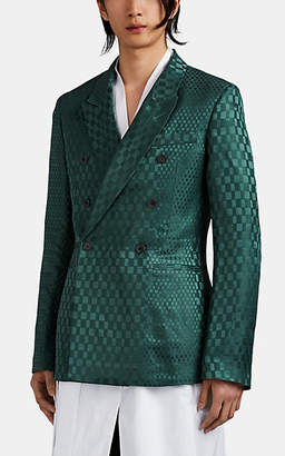 Haider Ackermann Men's Geometric-Jacquard Double-Breasted Sportcoat - Green
