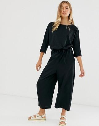 ASOS DESIGN jersey slub tie waist casual jumpsuit in black