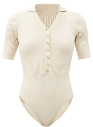 Jacquemus Yauco Buttoned Rib-knitted Bodysuit - Beige