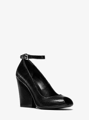 Michael Kors Julianne Python-Embossed Leather Peep-Toe Pump