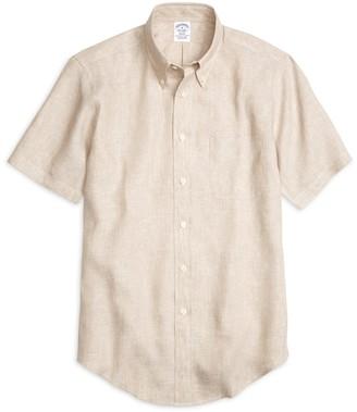 Brooks Brothers Regent Fit Linen Short-Sleeve Sport Shirt