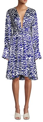 Prabal Gurung Charmeuse Animal-Print Silk Dress