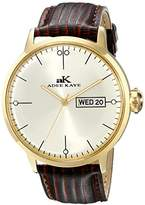 Adee Kaye Men's AK2226-MG Gold-Tone Stainless Steel Watch with Brown Faux-Leather Band