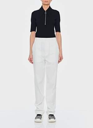 Tibi Structured Crepe Short Sleeve Zip-Up Top