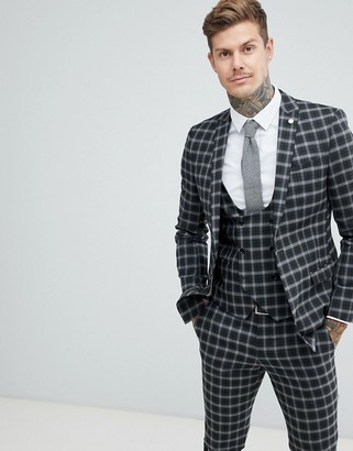 Twisted Tailor super skinny suit jacket in gray check