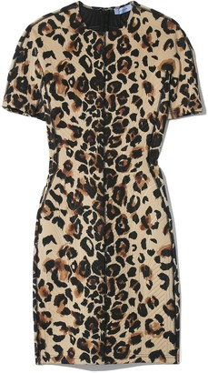 Thierry Mugler Multicolor Panel Dress in Natural Leopard