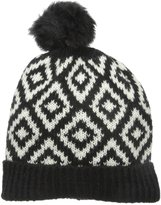 Rampage Women's Diamond Knit Pom Beanie