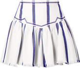 Etoile Isabel Marant Delia Embroidered Striped Woven Cotton Mini Skirt - White
