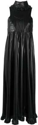 Paco Rabanne Faux-Leather Ruffled Sleeveless Dress
