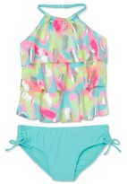 Wonder Nation Girls 4-18 & Plus Pineapple Tiered Halter Neck Tankini Swimsuit with UPF 50+