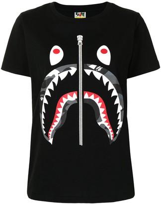 A Bathing Ape zip-print Shark T-shirt