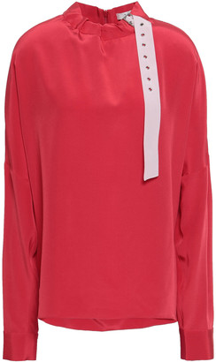 Tibi Gathered Buckle-detailed Silk Crepe De Chine Blouse