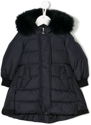 Moncler fur hooded padded coat