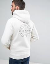 Jack Wills Ederton Zipthru Hoodie Back Print in White Marl
