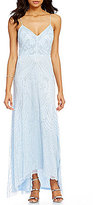 Aidan Mattox V-Neck Sleeveless Beaded Hi-Low Slip Gown