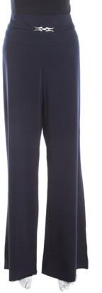 Escada Navy Blue Stretch Wool Crepe High Waist Wide Leg Trousers L