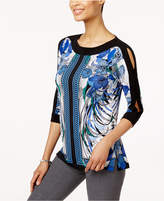 JM Collection Split-Sleeve Floral-Print Tunic, Created for Macy's
