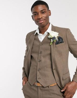 ASOS DESIGN wedding skinny wool mix suit jacket in camel herringbone