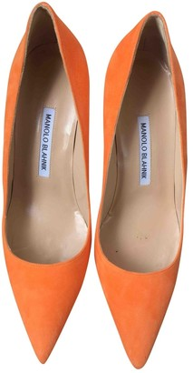 Manolo Blahnik Orange Leather Heels