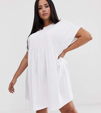 Asos DESIGN Curve button sleeve mini smock dress in white