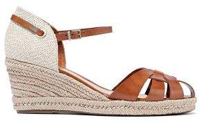 Schutz Cutout Leather And Canvas Wedge Espadrille Sandals