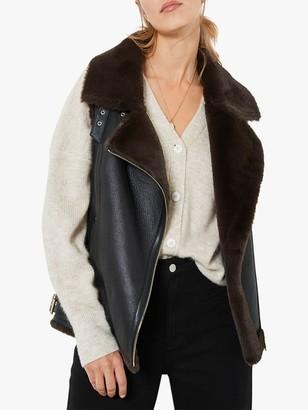Mint Velvet Leather Gilet, Black