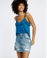 Express petite mid rise destroyed denim mini skirt