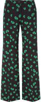 Miu Miu Printed Crepe Wide-leg Pants - Black