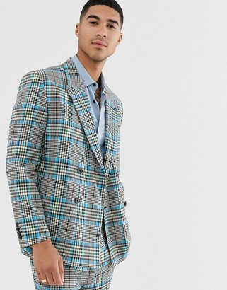 Asos Design DESIGN boxy suit jacket with color pop check-Gray