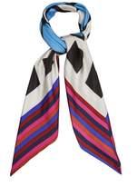Diane von Furstenberg Cubic-print striped silk scarf