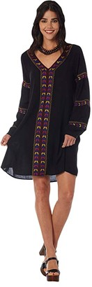 Wrangler Long Balloon Sleeve Embroidered Dress (Black) Women's Clothing