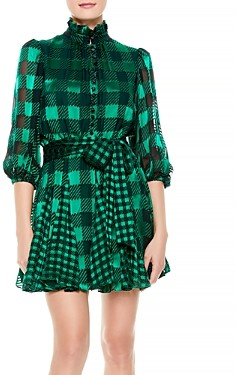 Alice + Olivia Mina Printed Belted Dress