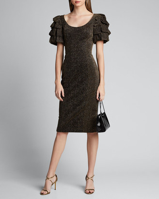 Badgley Mischka Metallic Loop-Sleeve Sheath Dress