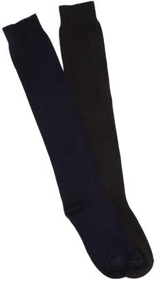 Hue Flat Knit Knee Socks - Pack of 2