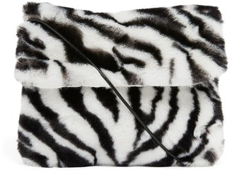 Bonton Furry Zebra Print Cross-Body Bag