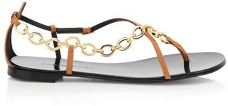 Giuseppe Zanotti Nuvrock Flat Chain-Trimmed Leather Sandals