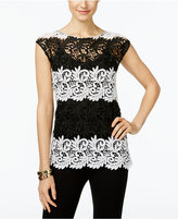 INC International Concepts Petite Lace Colorblocked Top, Only at Macy's