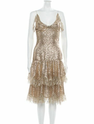 Rodarte V-Neck Midi Length Dress Gold