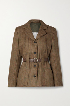 Giuliva Heritage Collection + Net Sustain The Nora Belted Checked Herringbone Wool Jacket - Brown