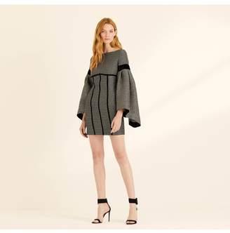 Amanda Wakeley Statement Sleeve Metallic Weave Mini Dress