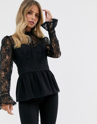 Forever New lace yolk peplum top in black