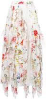 Alice + Olivia Alice+Olivia floral-print lace-trimmed ruffled midi skirt