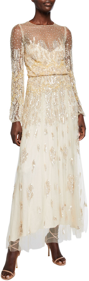 Monique Lhuillier Embroidered Tulle Jewel Long-Sleeve Dress